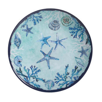 Blue Starfish and Shells Round Melamine Platters, Set of 2 view 2