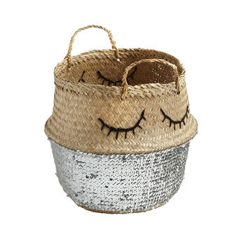 "15.25"" Eyelashes Sequined Seagrass Storage Basket view 1"