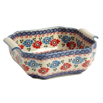 Polish Pottery Blue/Red Floral Square Serving Bowl