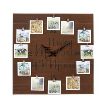 "The Grainhouse™ 20"" ""Making Memories By the Minute"" Photo Clip Square Wall Clock"