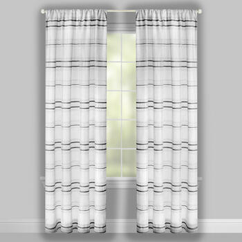 "96"" Embroidered Stripe Rod Pocket Window Curtains, Set of 2 view 2"