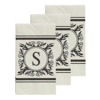 "3-Pack Monogram ""S"" Guest Towels, 45-Count"