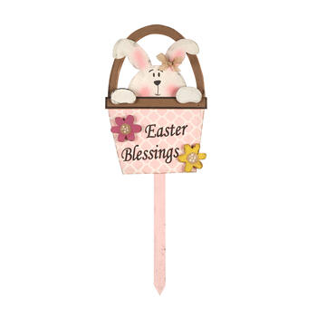 "35.5"" ""Easter Blessings"" Bunny in Basket Wood Yard Stake view 1"