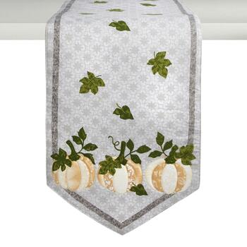 Gray Pumpkin Trio Cotton Table Runner