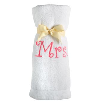 "Embroidered ""Mrs."" Bath Towel"