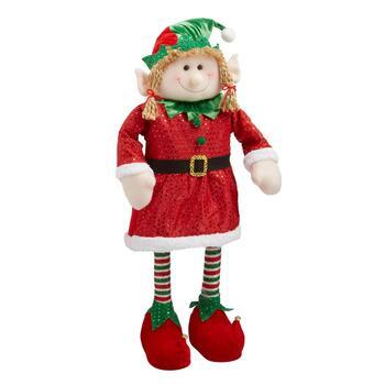 "28"" Red/Green Striped Socks Standing Elf Girl"