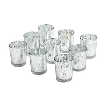 Mercury Glass Tealight Candle Holders, 9-Piece view 1
