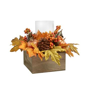 "9.75"" Gold Leaves Pillar Candle Holder Centerpiece"