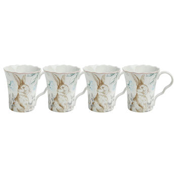 Bunny and Blossoms Scalloped Ceramic Mugs, Set of 4 view 1