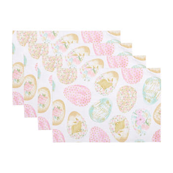 """Happy Easter"" Colored Eggs Fabric Placemats, Set of 4 view 1"