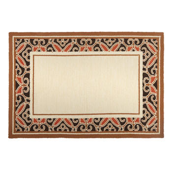 Black/Red/Brown Border All-Weather Hand-Hooked Rug view 1