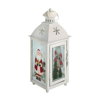 "11.25"" Santa Forest Metal Candle Holder"