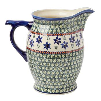 Polish Pottery Blue Floral Large Drink Pitcher