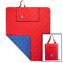 Red/Blue Anchor Foldable Outdoor Blanket Tote