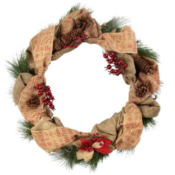 "22"" Lighted Burlap Pinecone Holiday Wreath"