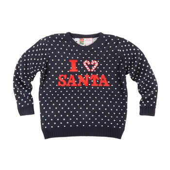 """I <3 Santa"" Candy Cane Ugly Holiday Sweater view 1"