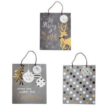 Gray Reindeer, Ornaments & Polka Dots Gift Bags, Set of 3