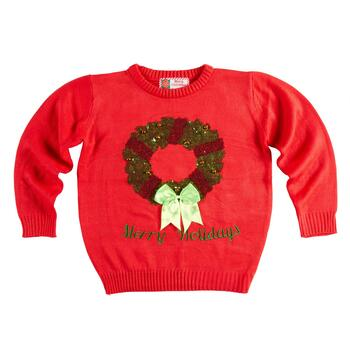 """Merry Holidays"" Sequined Wreath Ugly Christmas Sweater"