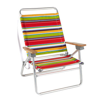 Red/Green/Orange Stripes 3-Position Folding Sand Chair view 1