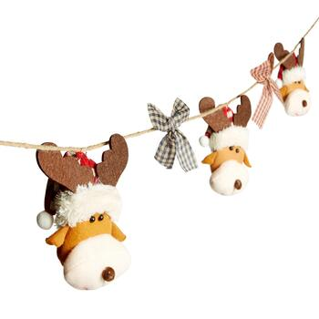 Plush Reindeer and Bows String Garlands, Set of 2