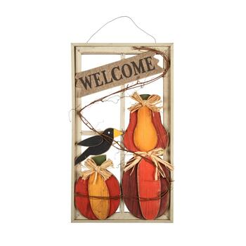"24"" ""Welcome"" Crow and Squash Window Hanger"