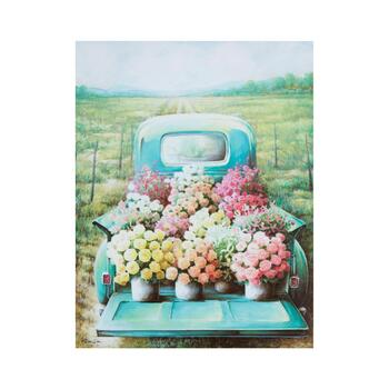 "22""x28"" Painted Flower Truck Canvas Wall Art"