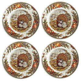 Bountiful Harvest Turkey Dinner Plates, Set of 4