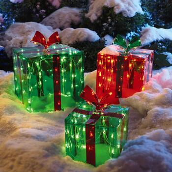 Lighted Outdoor Gift Boxes, Set of 3