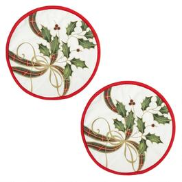 Famous Maker Holly and Ribbon Pot Holders, Set of 2