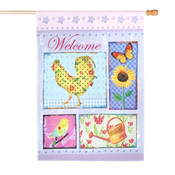 """Welcome"" Spring Icons Yard Flag"