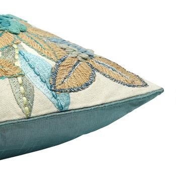 Aqua Floral Embroidered Oblong Throw Pillow view 2