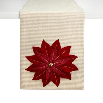 "72"" Red Poinsettia Flower Embellished Cotton Blend Table Runner"
