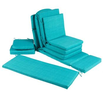 Solid Turquoise Indoor/Outdoor Chair Pads Collection