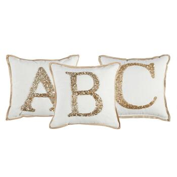 White and Gold Beaded Monogram Square Throw Pillow