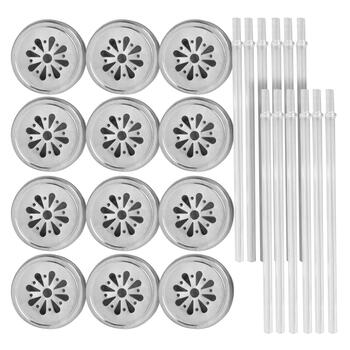 Mason Jar Flower Lids with Straws, Set of 12