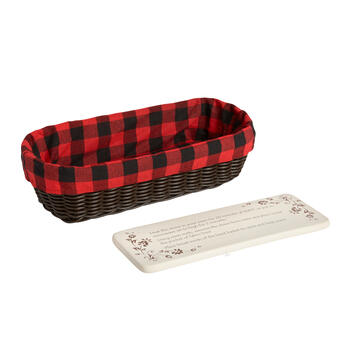 Plaid-Lined Bread Basket with Warming Stone view 1