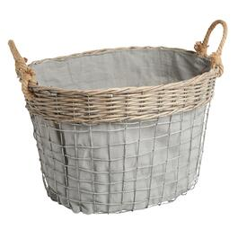 The Grainhouse™ Oval Woven Wire Storage Basket with Lining
