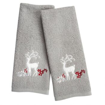 Grey Reindeer Cotton Hand Towels, Set of 2