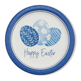 """Happy Easter"" Blue & White 9"" Paper Plates, 10-Count view 1"
