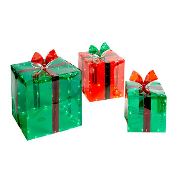 Indoor/Outdoor Light-Up Holiday Gift Boxes, Set of 3