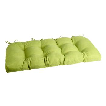 Solid Green Indoor/Outdoor Double-U Bench Seat Pad