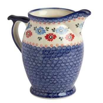 Polish Pottery Floral Chain Pitcher