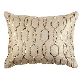 Gold Bead Geo Embellished Oblong Throw Pillow