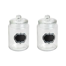 "6"" Chalkboard Glass Canisters, Set of 2"