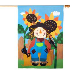 "28""x40"" Smiling Scarecrow Sueded Yard Flag"