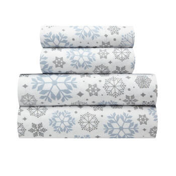 Gray/Blue Snowflake Warm Cotton Flannel Sheet Set view 1