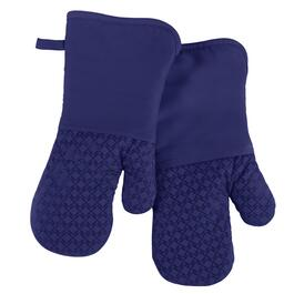 Blue Silicone Oven Mitts, Set of 2
