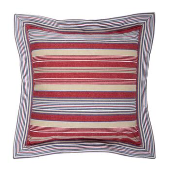 Nautical Stripes 3-Button Square Throw Pillow view 2