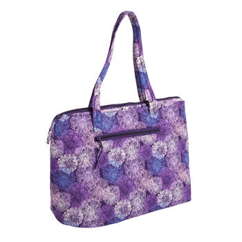 "18""x14"" Purple Floral Quilted Insulated Tote Bag view 1"