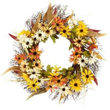 "22"" Green Leaf and Wildflowers Wreath"
